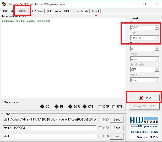 setup phần mềm hecurles UART IOT47