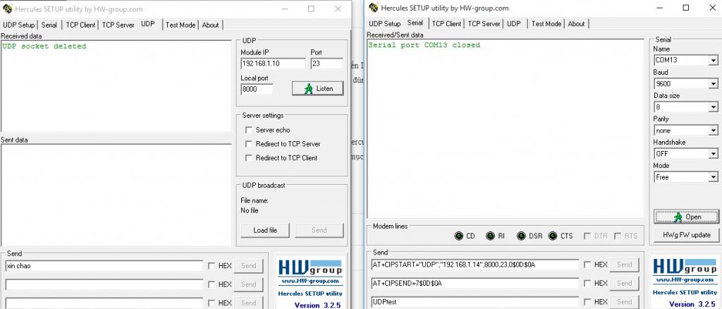 Đemo giao tiếp UDP với ESP8266
